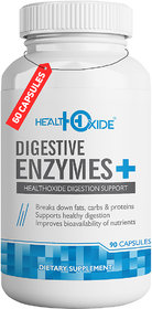HealthOxide Digestive Enzymes-Support for Digestion-For Bloating, Constipation  Gas Relief  (90 No)