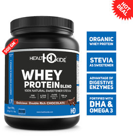 HealthOxide Whey Protein with Sweetener Stevia and Digestive Enzymes  500 Gm, Delicious Double Rich Chocolate