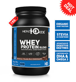 HealthOxide Whey Protein with Sweetener Stevia and Digestive Enzymes  1 kg, Delicious Double Rich Chocolate