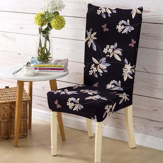House of Quirk Elastic Chair Cover Stretch Removable Washable Short Dining Chair Cover Protector Seat Slipcover - Black Flower