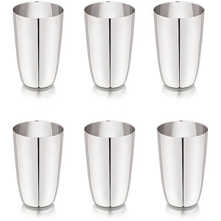 Universe Silver Shine Stainless Steel Glass Set of  6 Ajuba Drinking Water Glass Juice Milk Tea Lassi Glass Tableware Drinkware Tumbler Unbreakable Glass Perfect Gift Option For This Festive Season