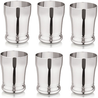 Universe Silver Shine Stainless Steel Glass Set of 6  Brezza Drinking Water Glass Juice Milk Tea Lassi Glass Tableware Drinkware Tumbler Unbreakable Glass Perfect Gift Option For This Festive Season