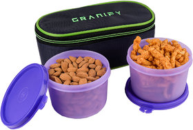 GRANIFY LUNCH BOX ( 2 CONTAINERS WITH BAG COVER ) PURPLE COLOR USE FOR MULTIPURPOSE