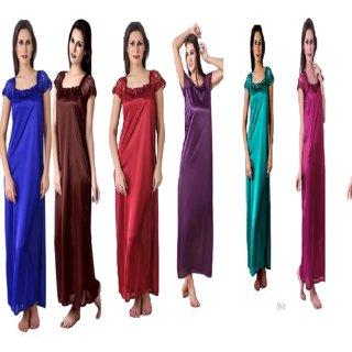 Women Bridal Satin 6 pc nighty robes Satin Nightwear 6 Pcs  Set of Nighty Robe Top  Bra  Thong
