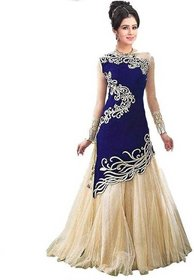 Today Deal Blue Velvet Embroidered Gown