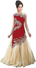 Today Deal Red Velvet Embroidered Gown