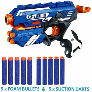 ASU Blaze Storm Manual Soft Bullet Shooting Gun Toy with 10 Safe Foam Bullet for Kids ( Multicolor )