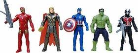 ASU Avengers Toys Set - Captain America, Ironman, Hulk, Ant Man and Thor - Infinity War 5 Action Hero