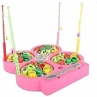 ASU Battery Operated Fish catching Game 2 - 4 Players Game with 4 Pools Multicolor