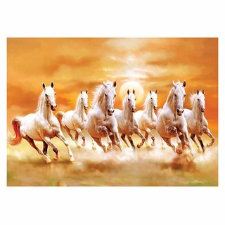 Voorkoms Wall Decor Seven running white horses Wall Sticker For Living Room -Bedroom - Office - Home Hall Decorative