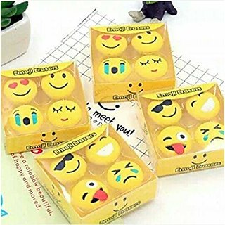 Asu Gifting Cute Emoji Print Eraser for Kids Ideal for Return Gift Option Yellow Color Set of 2 Boxes