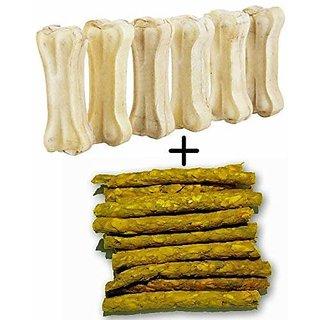 Hsj Calcium Treat Chew Dog Rawhide Bone  Chew Stix 100 Digestible 6 Inch 4 Bone + Chew Stick 1 kg Pack of 2