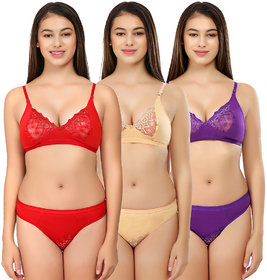 SK Dreams Multi Color Lace Set of 3 Women's Bridal Set Combo