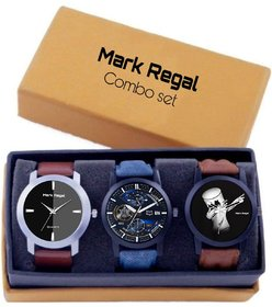 Mark Regal Analog Quartz Multi Color Dial Leather Round Men Watches Combo (Pack of 3)