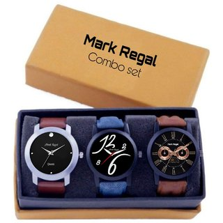 Pack of 3 Mark Regal Analog Multi Color Leather Strap Watch For Men