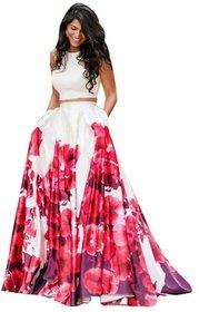 Today Deal White Red Floral Print Lehenga Choli