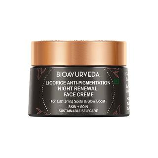 BIOAYURVEDA Licorice Anti-Pigmentation Night Renewal Face Cream  Skincare for Dark Spots, Pigmentation Dry Dull Aging Skin  For Men Women  40gm