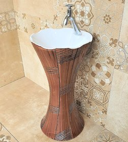 Inart Ceramic One Piece Pedestal Wash Basin Free Standing Size 16 X 16 Inch Round (Wooden White Finish)