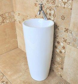 Inart Ceramic One Piece Pedestal Wash Basin Free Standing Size 15 X 15 Inch Round (White)