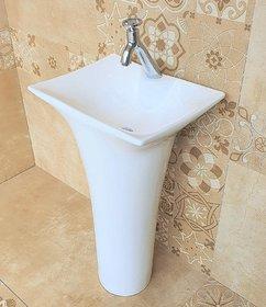 Inart Ceramic One Piece Pedestal Wash Basin Free Standing Size 18 X 15 Inch Square (White)