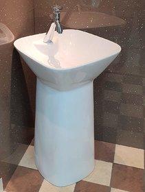 Inart Ceramic One Piece Pedestal Wash Basin Free Standing Size 18 X 18 Inch Square (White)