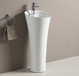 Inart Ceramic One Piece Pedestal Wash Basin Free Standing Size 15 Inch Round (White)