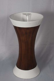 Inart Ceramic One Piece Pedestal Wash Basin Free Standing Size 16 Inch Round (White Brown Wood Finsih)