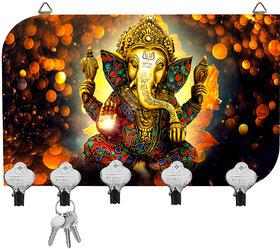 Kartik Digital Ganesha Printed Designer 5 Hook Hanging Key Holder Multicolor Matte Finish For Home Decore Gift 8.5