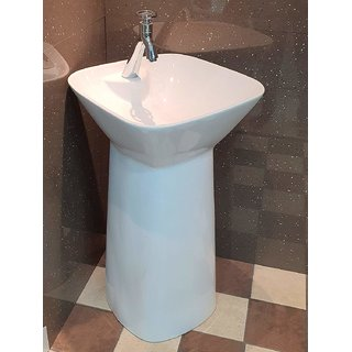 Inart Ceramic One Piece Pedestal Wash Basin Free Standing Size 18 X 18 Inch Square (White)