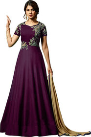 Today Deal Purple Taffeta Silk Embroidered Gown
