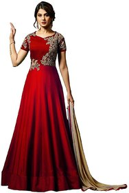 Today Deal Maroon Taffeta Silk Embroidered Semi Stitched Gown