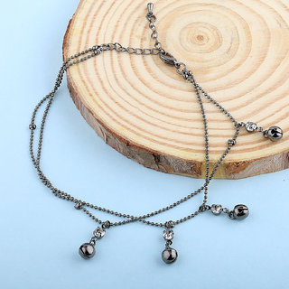 Silver Shine Exclusive Adjustable Double Line Anklet For Women Girl