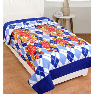 Z Decor Blue Polyester Nature and Floral Pattern Fleece & Polar Blankets For Single Bed