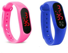 Farp Digital Led Watch Band Type Blue And Pink Colour Combo Watch For Boys And Girls Watch