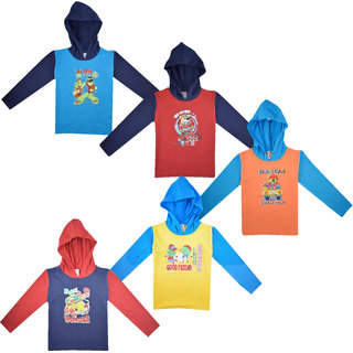 Jisha Lightweight Long-Sleeve Hooded T-Shirt For Kids Set Of 5