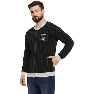 Campus Sutra Men's Black Full Sleeve Jacket