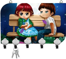 Kartik Digital Valentine Printed Designer 5 Hook Hanging Key Holder Multicolor Matte Finish For Home Decor Gift 8.5