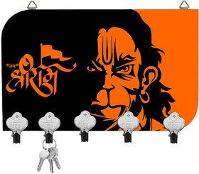 Kartik Digital Hanumana Printed Designer 5 Hook Hanging Key Holder Multicolor Matte Finish For Home Decore Gift 8. 5