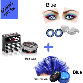Hair Color Wax With Mg5 Eye Contact Lens Wax(Pack Of 3, Blue)