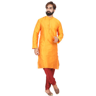 Rc Ethnic Orange Silk Kurta Pyjama Set For Men