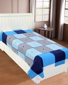 Shakrin Glace Cotton Single Bedsheet Cum Topsheet Without Pillow Cover Color-Blue-Box
