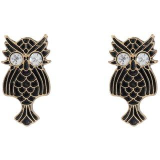 Charvi Designs Stud Earrings For Girls And Womens (Chr-Er-30, Gold/Black)