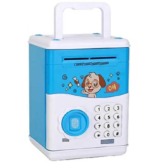 Shribossji Kids Electronic Simulation Password Automatic Roll Money Fingerprint Unlock Piggy Bank Kids Safe Bank Mini At