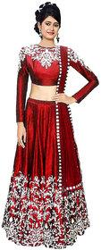 Today Deal Women's Maroon Raw Silk Embroidered Semi Stitched Lehenga Choli(Lg012-Nov2019, Free Size)