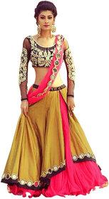 Today Deal Women's Yellow Bangalore Silk Embroidered, Mirror Work Semi Stitched Lehenga Choli(Lg021-Nov2019, Free Size)