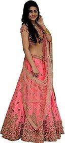 Today Deal Women's Pink Silk Embroidered Semi Stitched Lehenga Choli(Lg120-Nov2019, Free Size)