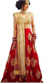 Today Deal Women Red Taffeta Silk Embroidered Semi Stitched Lehenga Choli(Lg027-Nov2019, Free Size)