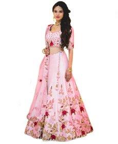 Today Deal Women's Pink Dupion Silk Embroidered Semi Stitched Lehenga Choli(Lg140-Nov2019, Free Size)