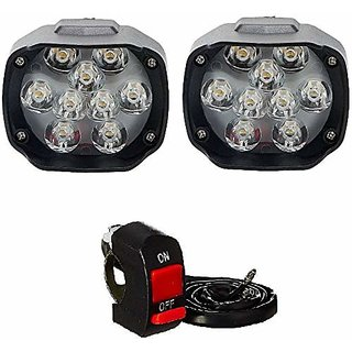 Phonoarena Universal Imported 9 Led Fog Light For Cars And Bikes (Fog Light Pair With Normal Switch)
