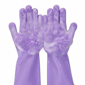 Smart Matto Silicon Hand Gloves For Kitchen Dishwashing And Pet Grooming, Great For Washing Dish, Kitchen, (1 Pair)